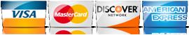 We Accept Visa, Mastercard, Discover